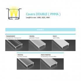 770.COP-D-PMMA Copertura Double (PMMA) per profili Doppi Power-Supply Accessori Illuminazione