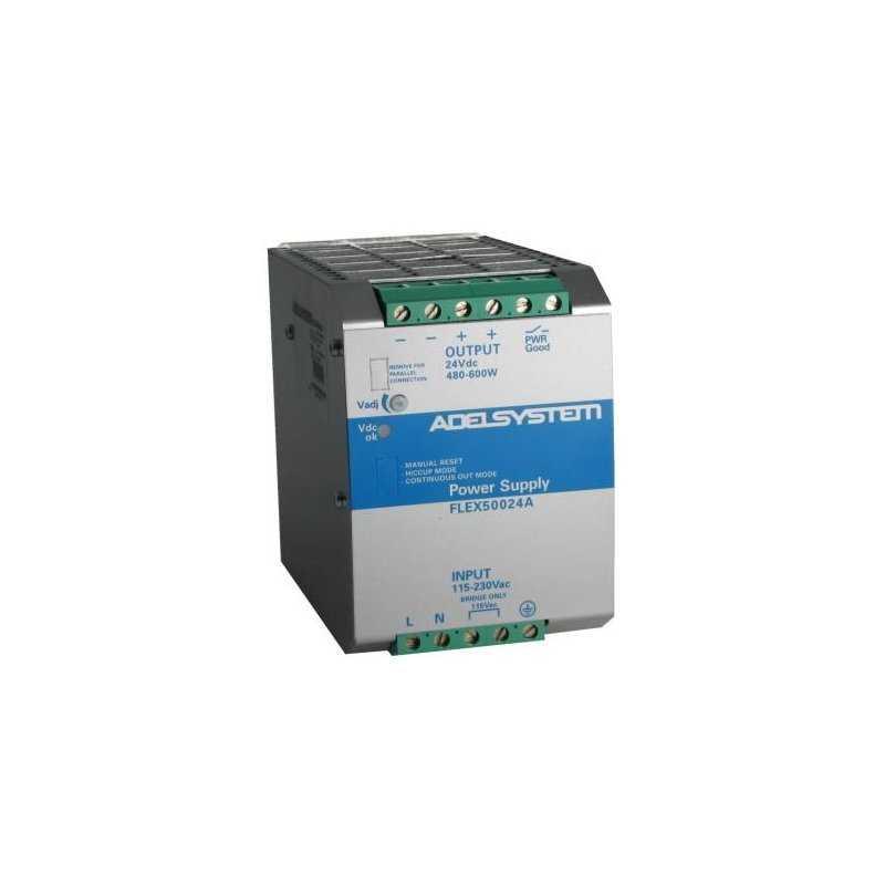 FLEX50024A  FLEX50024A - Alimentatore Adelsystem - Din Rail 600W 24V - Input 110/220 VAC  Adelsystem  Alimentatori Automazione