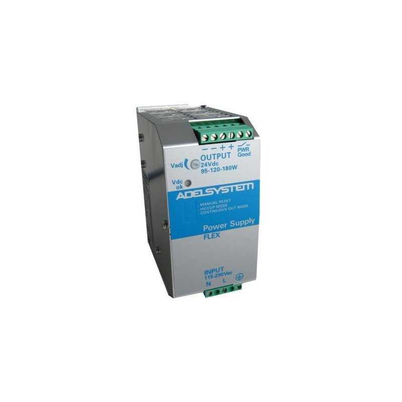FLEX17024A  FLEX17024A - Alimentatore Adelsystem - Din Rail 180W 24V - Input 110/220 VAC  Adelsystem  Alimentatori Automazione