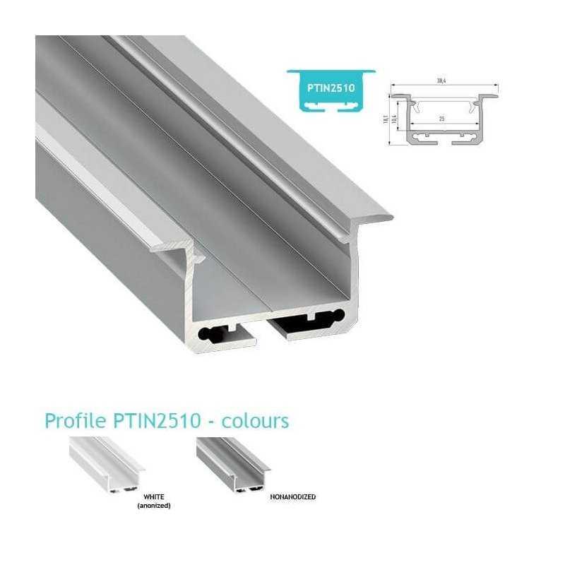 Profilo Alluminio Led Da Incasso Nel Cartongesso Modello Ptin2510