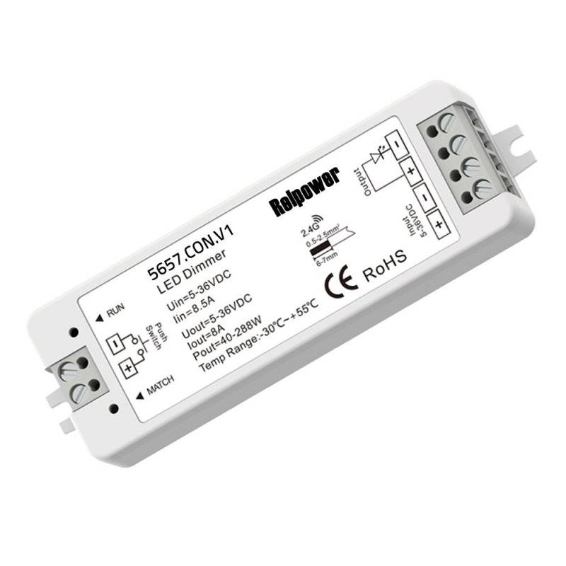 5657.con.v1  REL Power  RF-TouchDimmer-1CH | DIMMER LED - Telecomando RF - 1CANALE | IN 5V~24V | 384W MAX