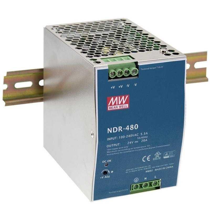 NDR-480-24  NDR-480-24 - Alimentatore Meanwell - Din Rail 480W 24V - Ingresso 100-240 VAC  MeanWell  Alimentatori Guida DIN