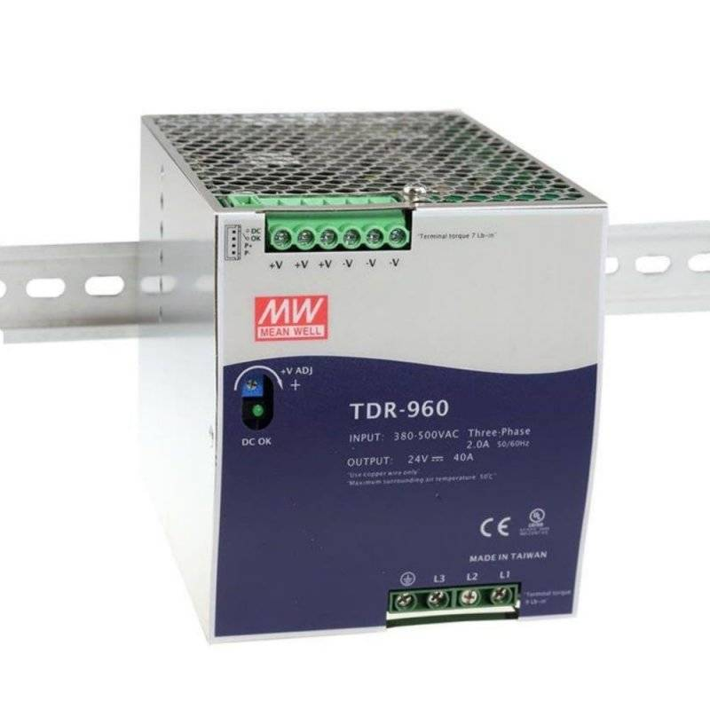 TDR-960-48  TDR-960-48 - Alimentatore Meanwell - Din Rail 960W 48V - Ingresso 380 VAC  MeanWell  Alimentatori Guida DIN