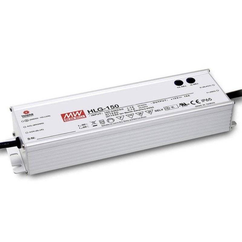 HLG-150H-24  HLG-150H-24 Alimentatore LED MeanWell - CV/CC - 150W / 24V / 6300mA   MeanWell  Alimentatori LED