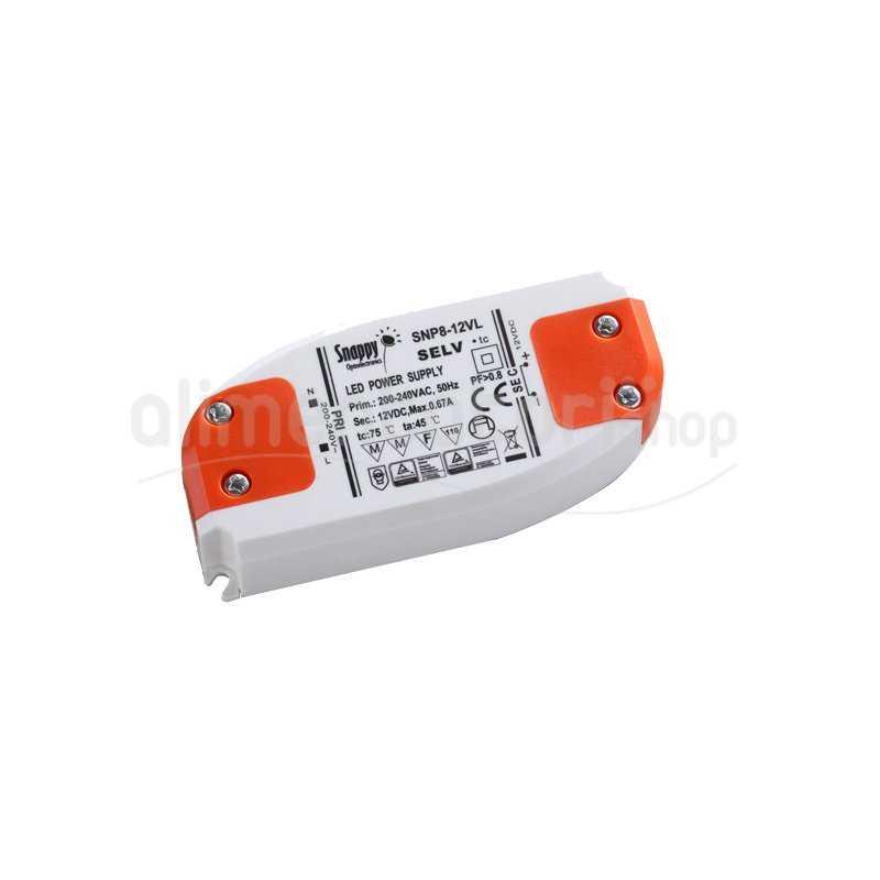 SNP8-12VL  SNP8-12VL Alimentatore LED Snappy - CV - 8W / 12V   Snappy  Alimentatori LED