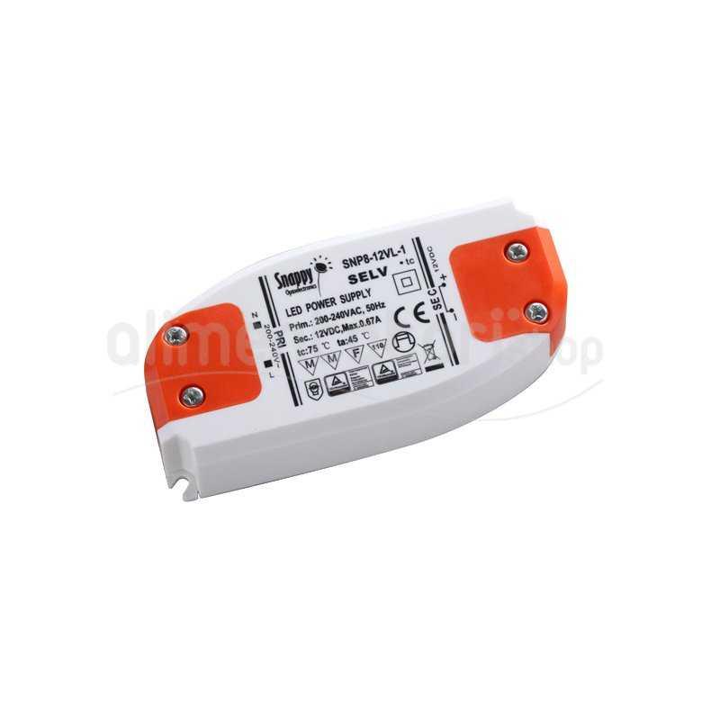 SNP8-24VL-1  SNP8-24VL-1 Alimentatore LED Snappy - CV - 8W / 24V   Snappy  Alimentatori LED