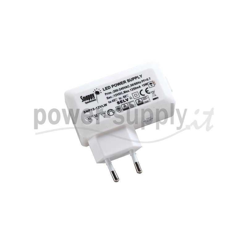 SNP15-12VLW  SNP15-12VLW Alimentatore LED Snappy - CV - 15W / 12V   Snappy  Alimentatori LED