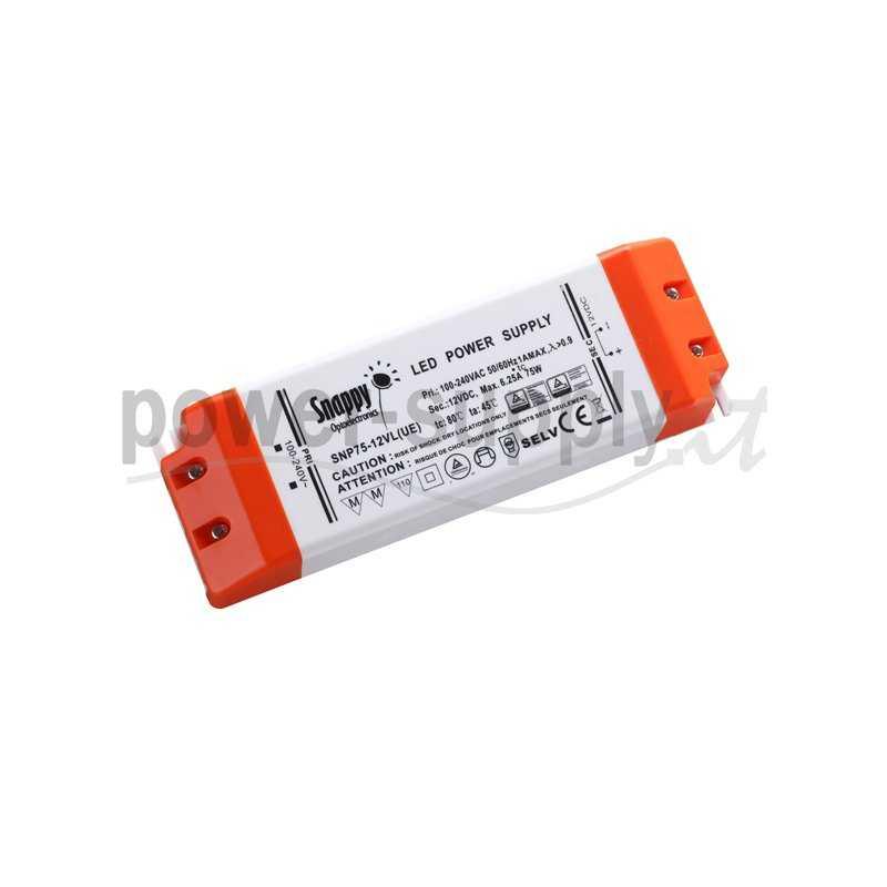 SNP75-12VL(UE)  SNP75-12VL(UE) Alimentatore LED Snappy - CV/CC - 75W / 12V / 6250mA   Snappy  Alimentatori LED