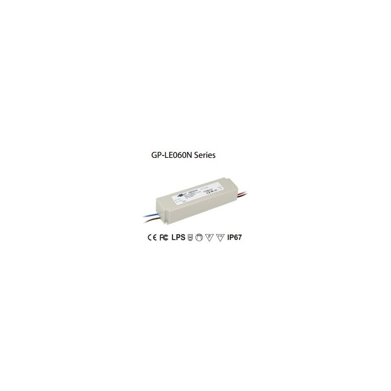 LE060N-12C Glacial Power LE060N-12C - Alimentatore LED Glacial Power - CC - 60W / 5000mA Alimentatori LED