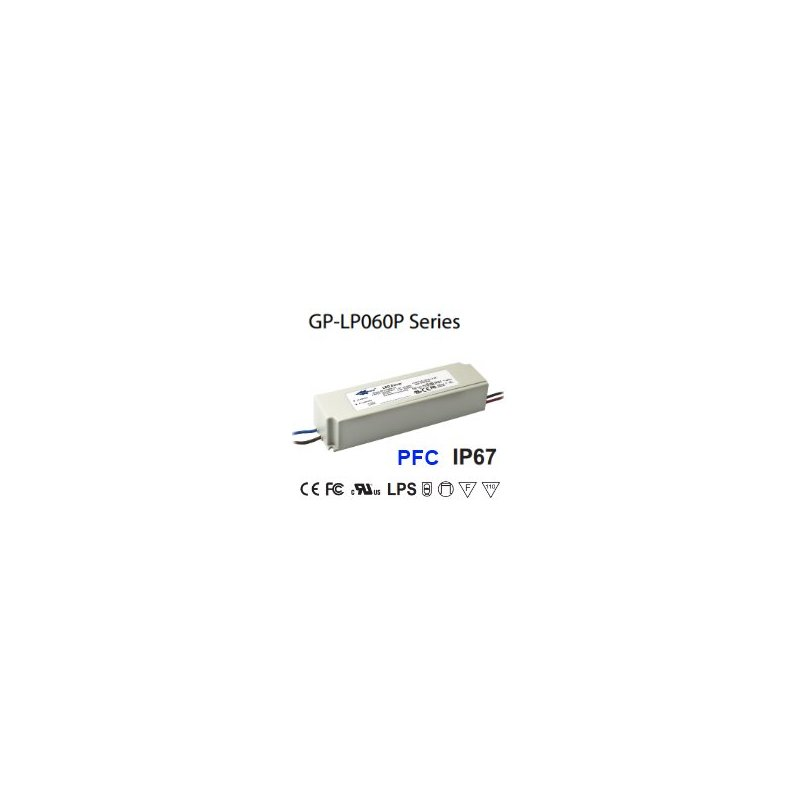 LP060P-24 Glacial Power LP060P-24 Alimentatore LED Glacial Power - CV/CC - 60W / 24V / 2500mA Alimentatori LED
