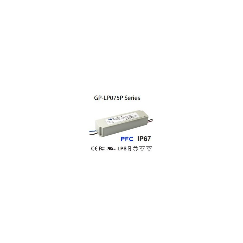 LP075P-24 Glacial Power LP075P-24 Alimentatore LED Glacial Power - CV/CC - 75W / 24V / 3125mA Alimentatori LED