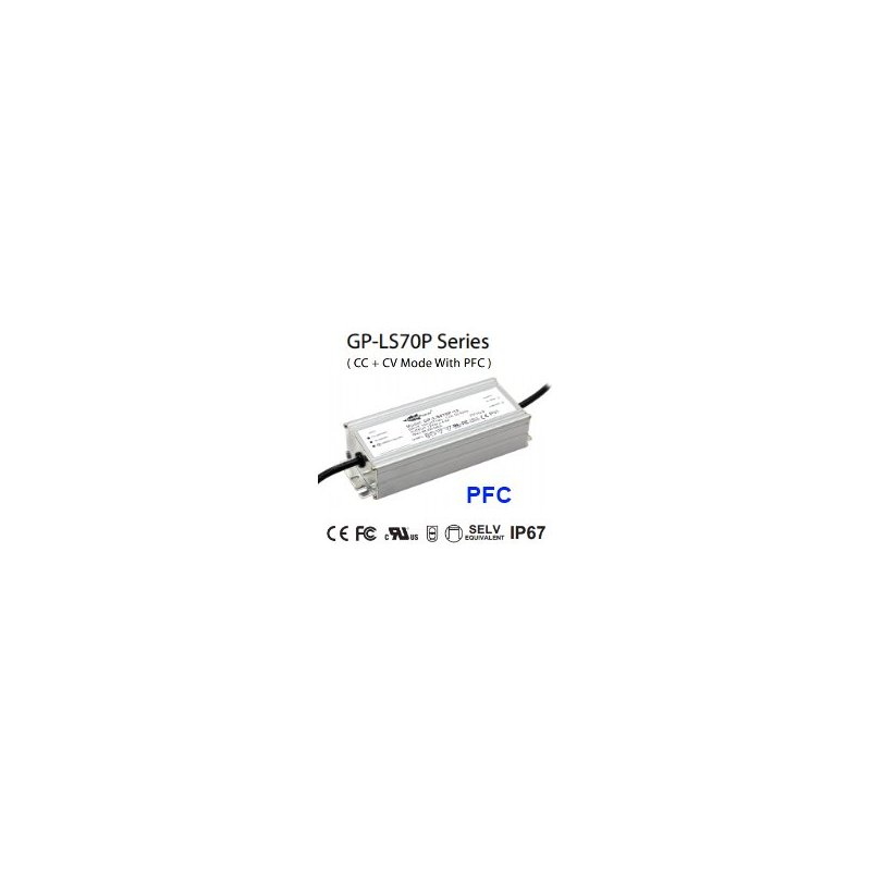 LS070P-24  LS070P-24 Alimentatore LED Glacial Power - CV/CC - 70W / 24V / 3200mA   Glacial Power  Alimentatori LED