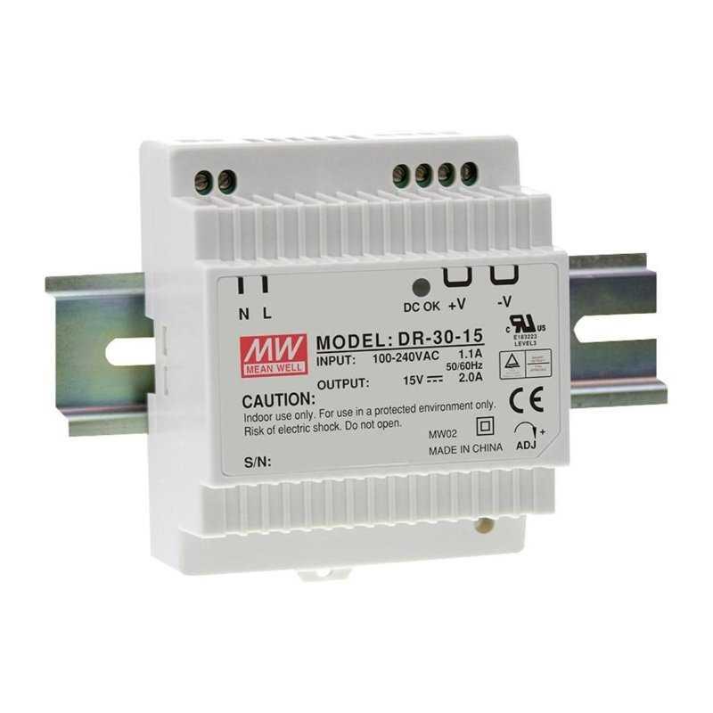 DR-30-5  DR-30-5 - Alimentatore Meanwell - Din Rail 30W 5V - Ingresso 100-240 VAC  MeanWell  Alimentatori Guida DIN