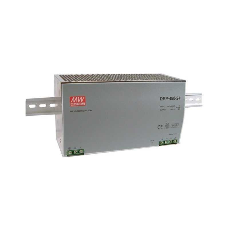 DRP-480-24  DRP-480-24 - Alimentatore Meanwell - Din Rail 480W 24V - Ingresso 220 VAC  MeanWell  Alimentatori Guida DIN