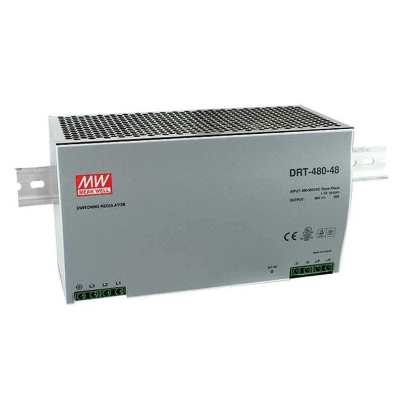 DRT-480-24  DRT-480-24 - Alimentatore Meanwell - Din Rail 480W 24V - Ingresso 380 VAC  MeanWell  Alimentatori Guida DIN