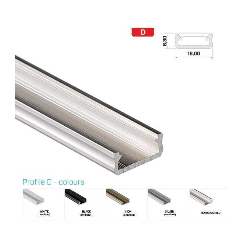 Profilo Alluminio LED MODELLO D - Serie Luminos , Profili Alluminio , Luminos Light