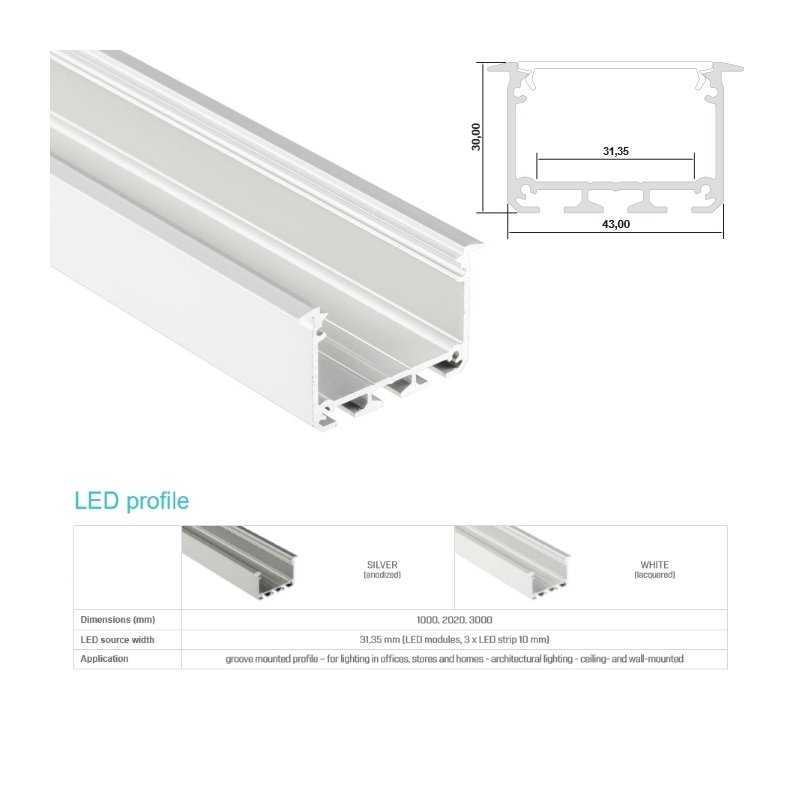 Profilo Alluminio Led Da Incasso Nel Cartongesso Modello Inzo