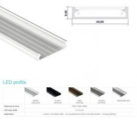 770.PAL.SOLOS  Profilo Alluminio LED Piatto da sottopensile - Modello SOLOS  Profili Alluminio