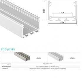 770.PAL.ILEDZ  Profilo Alluminio LED Piatto da sottopensile - Modello ILEDZ  Profili Alluminio
