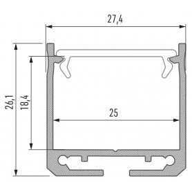 770.PAL.PT2520  Profilo Alluminio LED Piatto da sottopensile - PT2520  Profili Alluminio